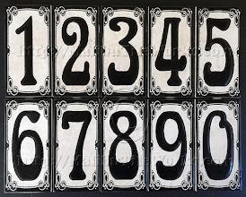 "Photo: Malibu Tile Works - House Number Address Tiles - Antique Stony White - Black Border 3"" x 6"" Tiles - Each Sold Separately"