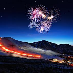 Torchlight Ski Parade, Sun Valley, Idaho by Tory Taglio - Sports & Fitness Snow Sports ( idaho, baldy, winter, twilight, snow, fireworks, ketchum, torchlight parade, sun valley )