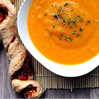 Carrot Ginger Citrus Soup with Spiraled Spelt Breadsticks.