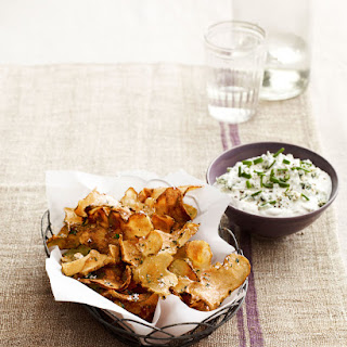 Sunchoke Chips with Warm Blue-Cheese Dip