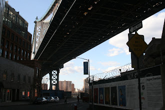 Photo: Looking up at the Manhattan Bridge from almost right under it.