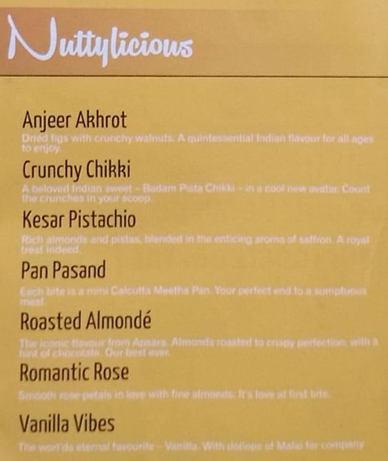 Apsara Ice Creams menu 2