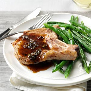 Pork Chops with Honey-Balsamic Glaze.