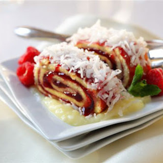 Raspberry Roll with Pina Colada Sauce