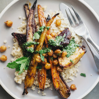 SPICE-ROASTED VEGETABLES WITH CHICKPEAS + CHERMOULA