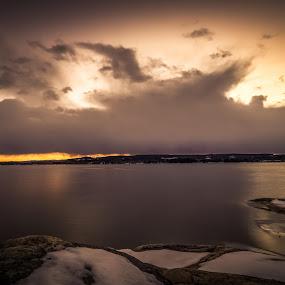 Snowstorm and sunset  by Kjell Kasin - Uncategorized All Uncategorized ( sweden, snowstorm, sunset, landscape, nikon, arvika )