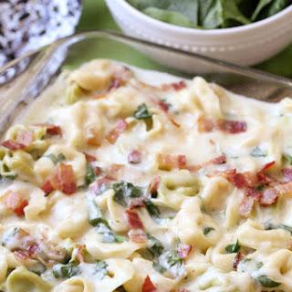 Cheesy Tortellini Spinach Bake