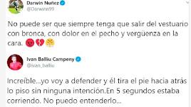 Darwin Núñez e Iván Balliu escribieron en redes sociales.