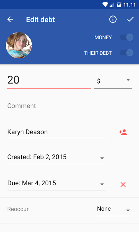 IOU - debt manager- screenshot