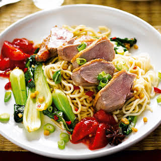 Duck With Plum Sauce And Noodles.