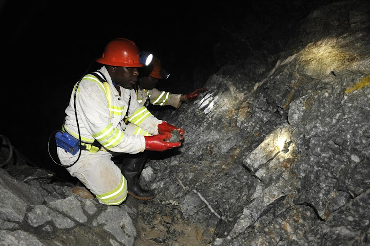 A miner works underground at a Johannesburg gold mine. Picture: ROBERT TSHABALALA