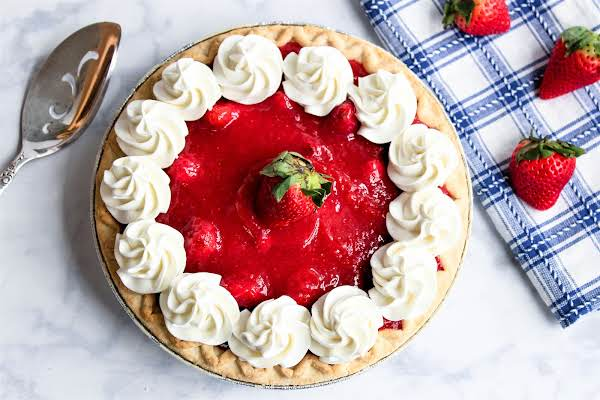 Fresh Strawberry Pie With Whipped Topping.