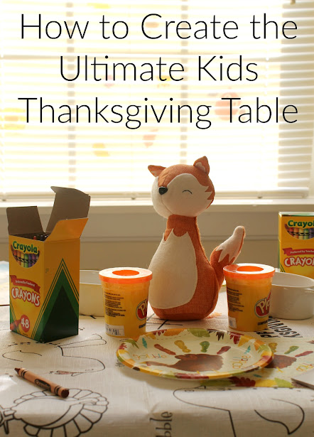 How to create the Ultimate Kids Thanksgiving Table! A fun tablecloth they can color on, lots of crayons, some cute decor, and fun activities will keep them entertained throughout your whole Thanksgiving dinner.
