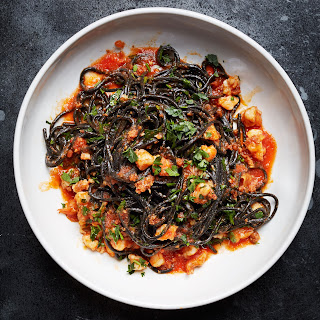 Squid Ink Pasta with Shrimp, Nduja, and Tomato.