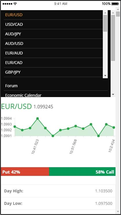 Binary options demo app