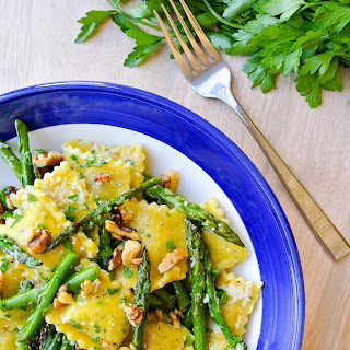Ravioli + Asparagus In A Lemon-brown Butter Sauce