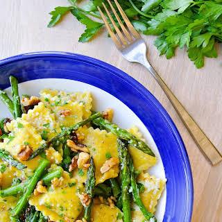 Ravioli + Asparagus In A Lemon-brown Butter Sauce.