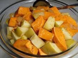 Mix apples, yams,cranraisins and pecans in a medium size bowl.