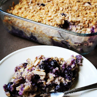Easiest Blueberry Coconut Oatmeal Bake.
