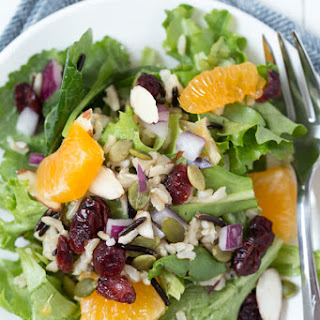 Winter Harvest Salad with Wild Rice, Cranberries, and Citrus.