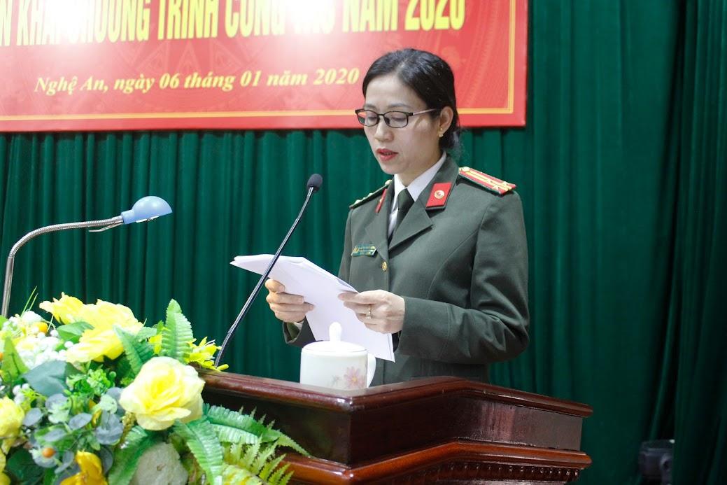 Thượng tá Lê Thị Thanh Huyền, Phó trưởng phòng báo cáo kết quả đạt được trong năm 2019 của Phòng Hậu cần