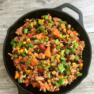 15 Minute Turkey Sweet Potato Black Bean Skillet