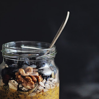 Pumpkin Chia Pudding with Nuts and Fruits.
