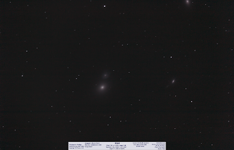 Photo: Day53 rounds out the VSP images. This was not taken during the VSP but after the show ended. Not a great shot at 18minutes, but the main galaxy, M60 is the brightest and is visually overlapping a tiny spiral just above!