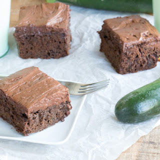 Greek Yogurt Chocolate Zucchini Cake with Chocolate Frosting.