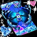Blue glitter butterflies live wallpaper icon