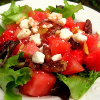 Watermelon, Baby Lettuce and Pecan Salad.