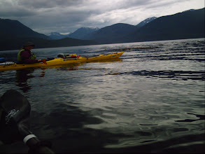 Photo: Heading off across Johnstone Strait with Robson Bight in the background.