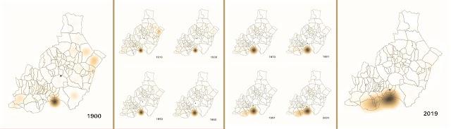 Mapas de calor de la distribución de la población almeriense.
