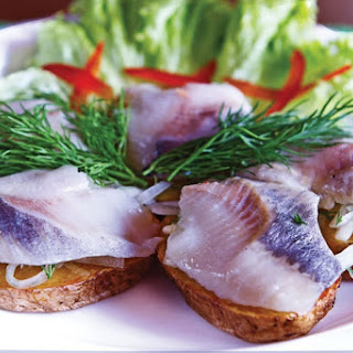 Herring and Pickled Cucumber Appetizer.