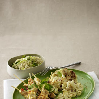 Chicken Skewers with Curried Cauliflower.