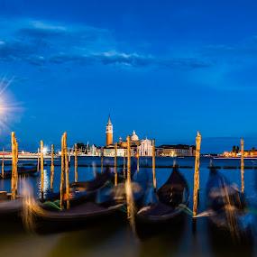 Blue Venice... by Nigel Hepplewhite - Landscapes Waterscapes ( bluehour, le, waterscape, stars, sunset, beautiful, venice, long exposure, landscape,  )