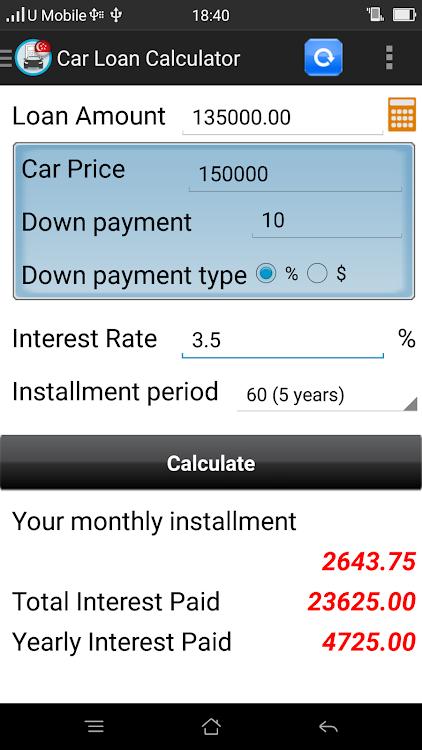 Car Loan Calculator App >> Car Loan Calculator Singapore Android Aplikace Appagg