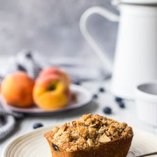 Peach Blueberry Cornmeal Muffins.
