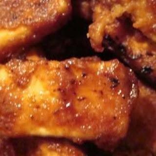 Crispy Barbequed Tofu Slices.