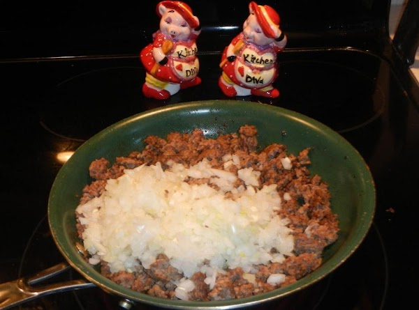 In a skillet brown beef till crumbly.  Drain meat. Return meat to skillet. Add onion...