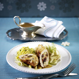 Apple Stuffed Chicken Breasts with Noodles and Fennel