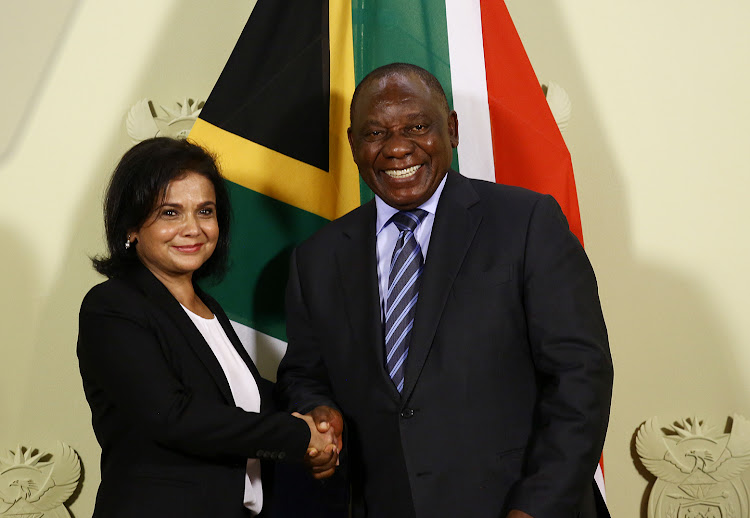 Advocate Shamila Batohi shakes hands with President Cyril Ramaphosa at the Union Building after she was revealed as the new National Director of Public Prosecution on December 4 2018.
