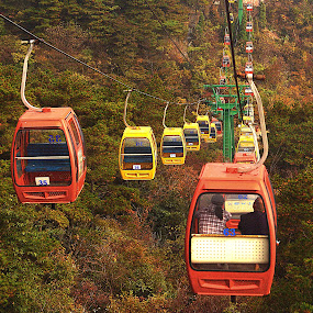 Lushan National Park. Cable cars. by Xiufen Gu - Transportation Other ( world_heritage_site, cable cars, whs, worldheritagesite, lushan, unesco, world heritage site,  )