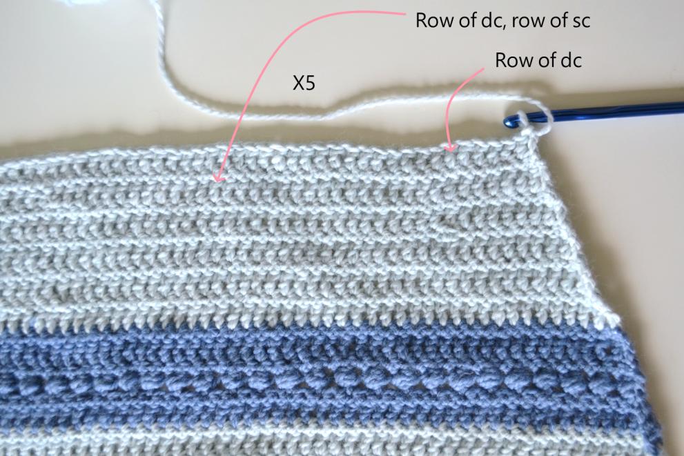 close up of crochet wrap in progress