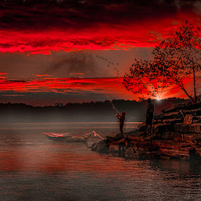 Father and Son Fishing by Eugene Linzy - People Family ( lake, fishing, sunrise, rocky shore, boat, boy, man, mist,  )