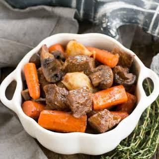 Crockpot Beef Stew with Mushrooms.