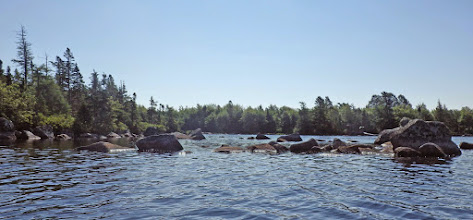 """Photo: Position F Typical rocky shoreline as I proceeded down east side of lake. July 22 (Refer to """"Photo details"""" for GPS locations.)"""