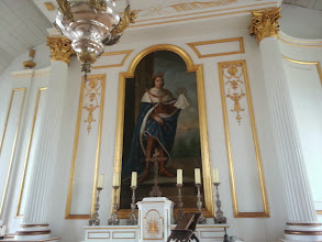 Photo: Louisbourg fortress chapel with a painting of the King of France behind the altar.  The message is clear, the King and God are best buddies.