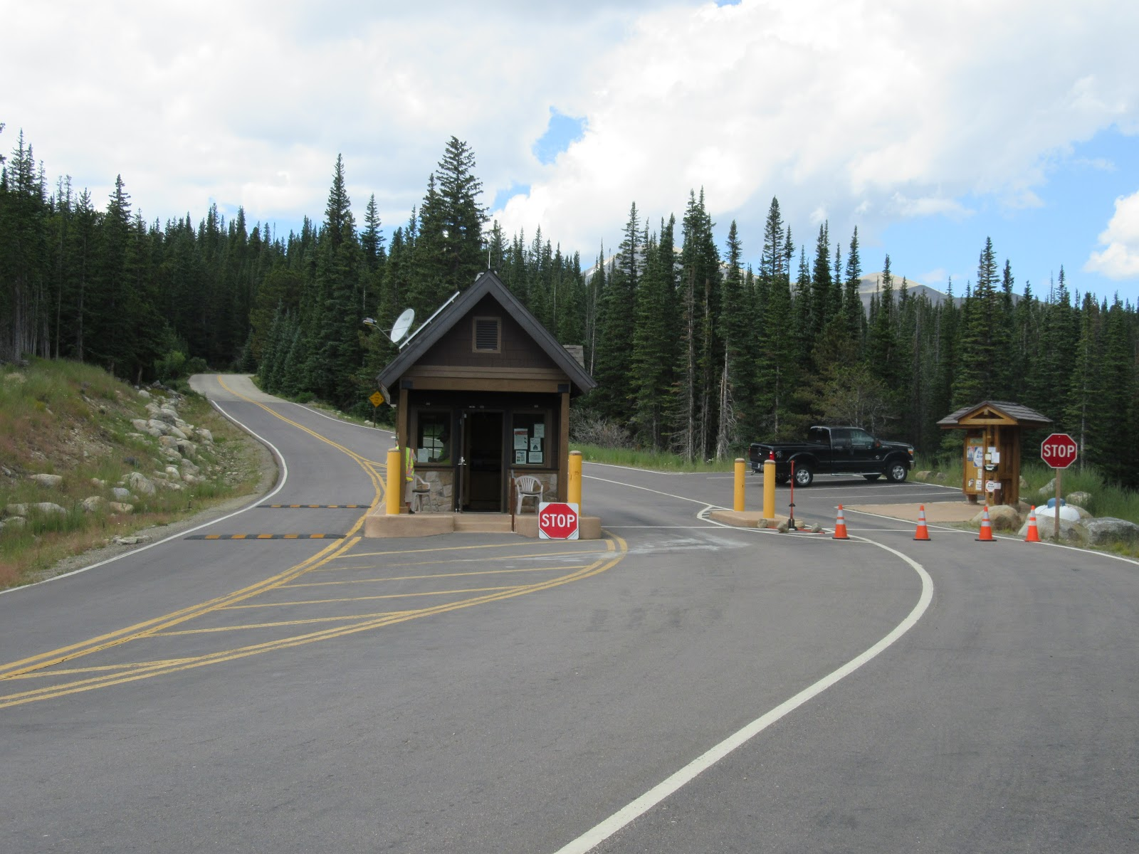 Bicycle ride up Left Hand Canyon - park entrance and toll booth