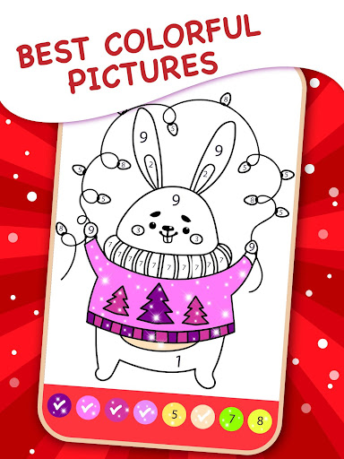 Happy Kids Christmas Coloring Book By Numbers apkpoly screenshots 3